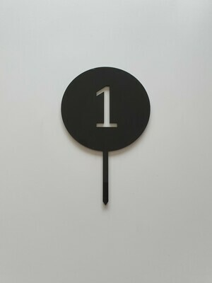 Circle with Number Cut Out Black - 1