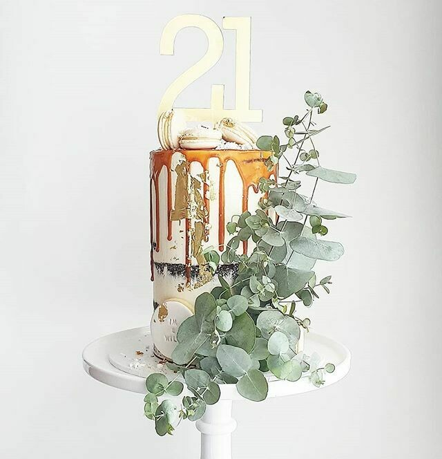 Semi Naked Buttercream Cake + Caramel Drip + Native Greenery
