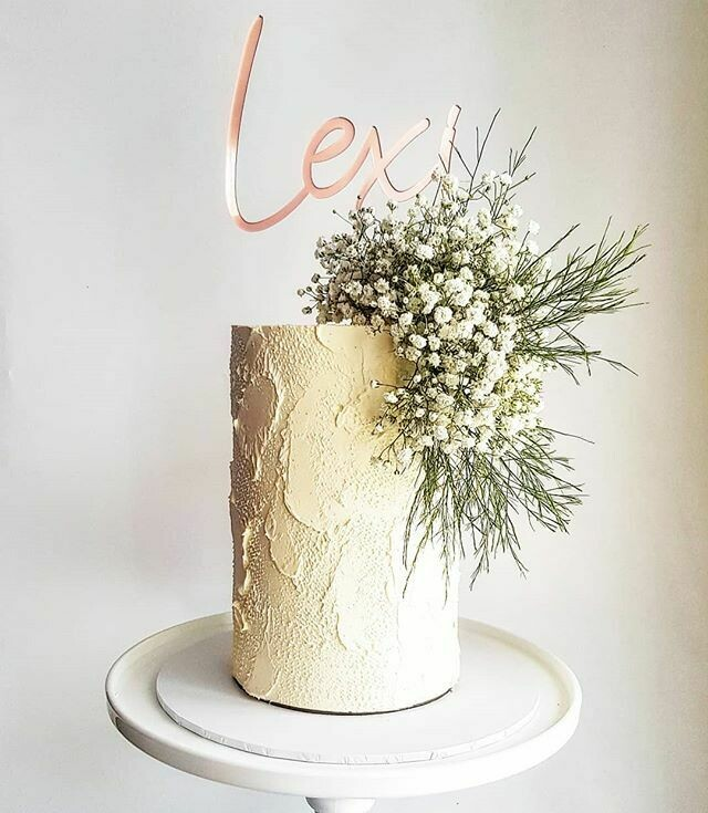 Textured Buttercream Cake + Gyp + Foliage