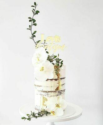 Semi Naked Buttercream Cake + Orchids