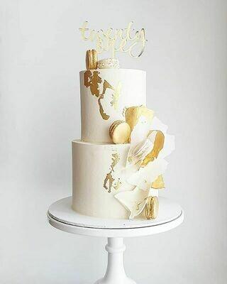 Full Buttercream Cake + Macarons + Shards
