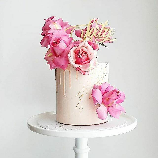 Full Buttercream Cake + Drip + Roses