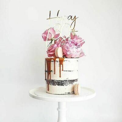 Semi Naked Buttercream Cake + Caramel Drip + Florals