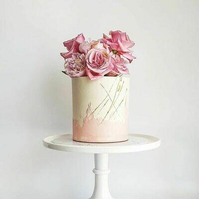 Half Watercolour Buttercream Cake + Clustered Florals
