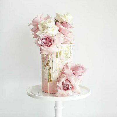 Full Watercolour Buttercream Cake + Drip + Roses