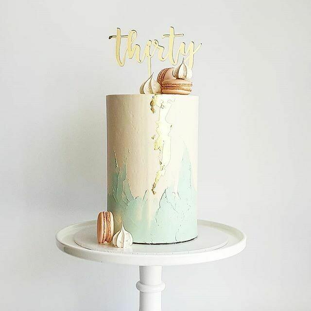Half Watercolour Buttercream Cake + Macarons + Meringues