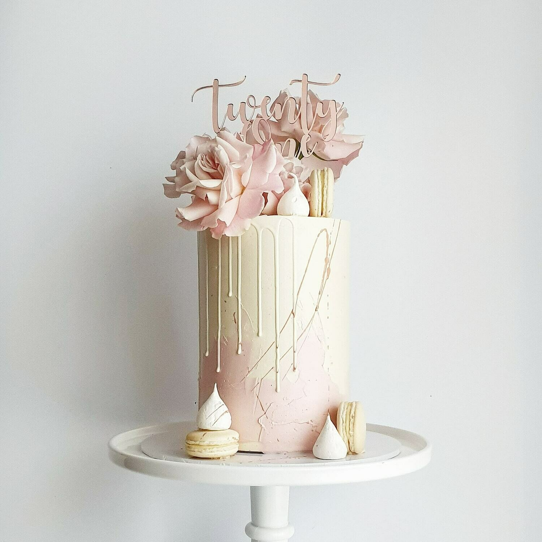Half Watercolour Buttercream Cake + Drip + Roses