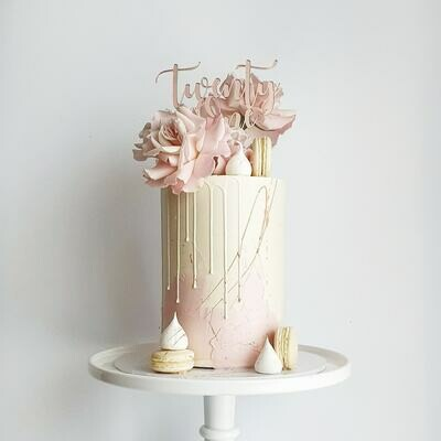 Half Watercolour Buttercream Cake + Drip + Roses