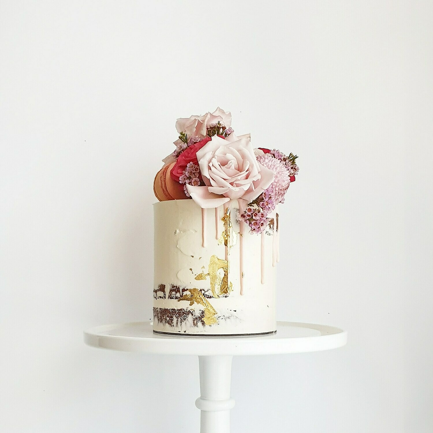 Semi Naked Buttercream Cake + Drip + Mixed Florals