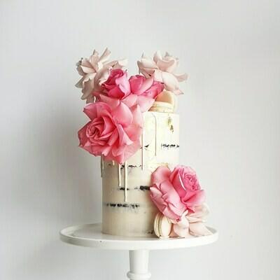 Semi Naked Buttercream Cake + Drip + Roses + Macarons