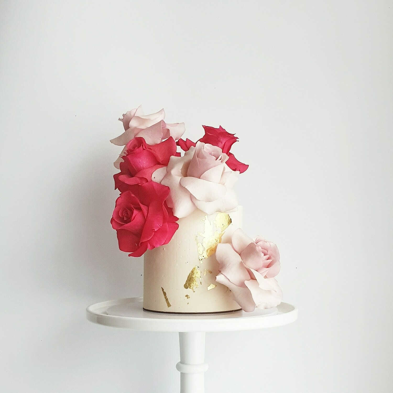 Full Buttercream Cake + Roses