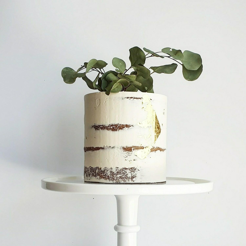 Semi Naked Buttercream Cake + Native Foliage