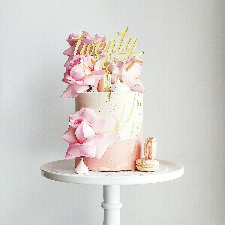 Half Watercolour Buttercream Cake + Roses + Macarons