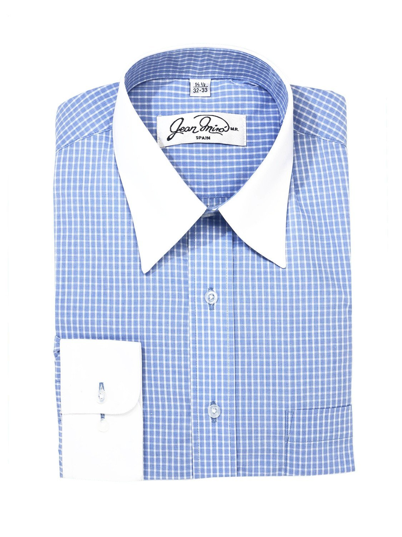 Camisa Cuadros puño y cuello Blanco