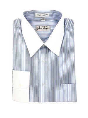 Camisa Azul Puños y cuello Blanco