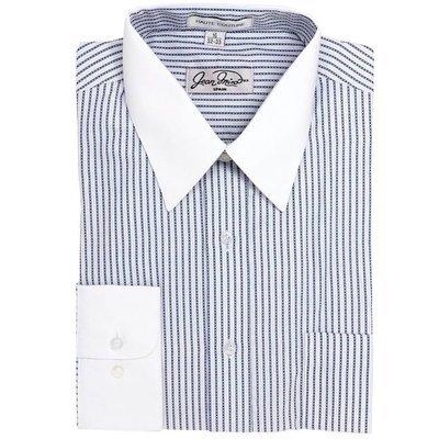 Camisa Rayas Puño y Cuello Blanco