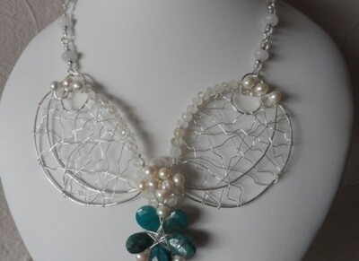 Chrysocolla, (empowers feminine energy) Pearl (stone of truth and Love), and Quartz (amplify communications) Silver Statement Necklace Set