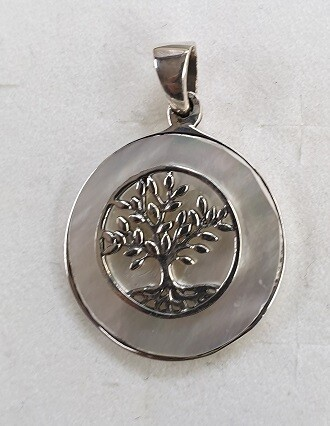 OLIVE TREE silver and mother of pearl