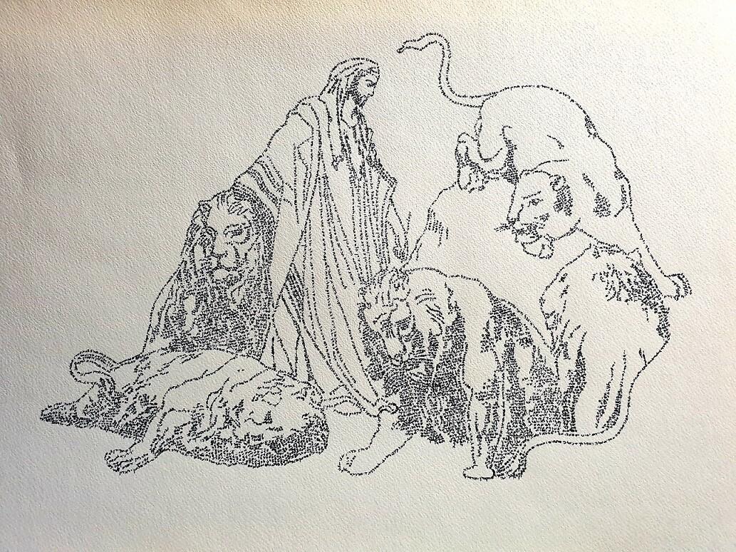 DANIEL in the LION'S DEN ( B & W)