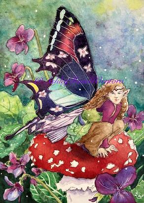 """The Violet Faery"" Original Watercolour Painting"