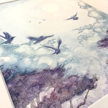 "ON SALE: ""Moonlit Crows"" Original Watercolour Painting"