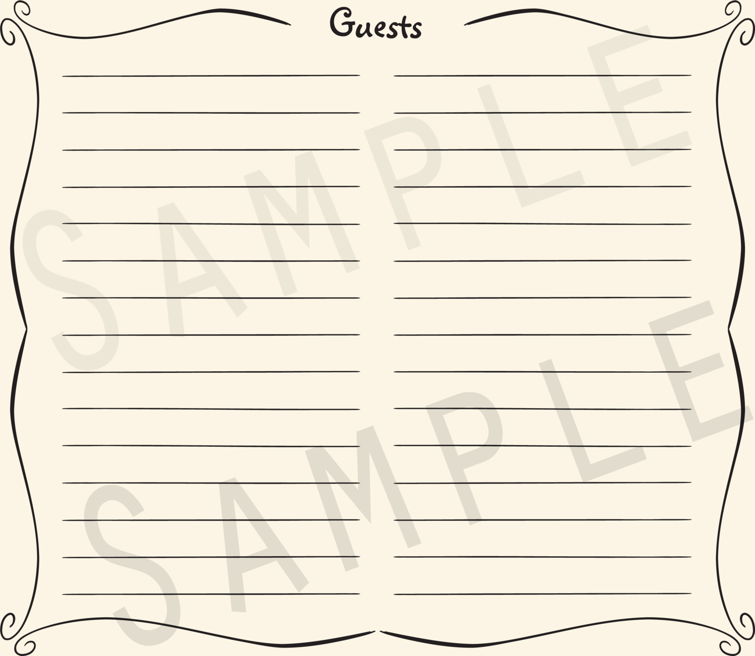 Add-on Collection: Casual Lined Guest Address Pages