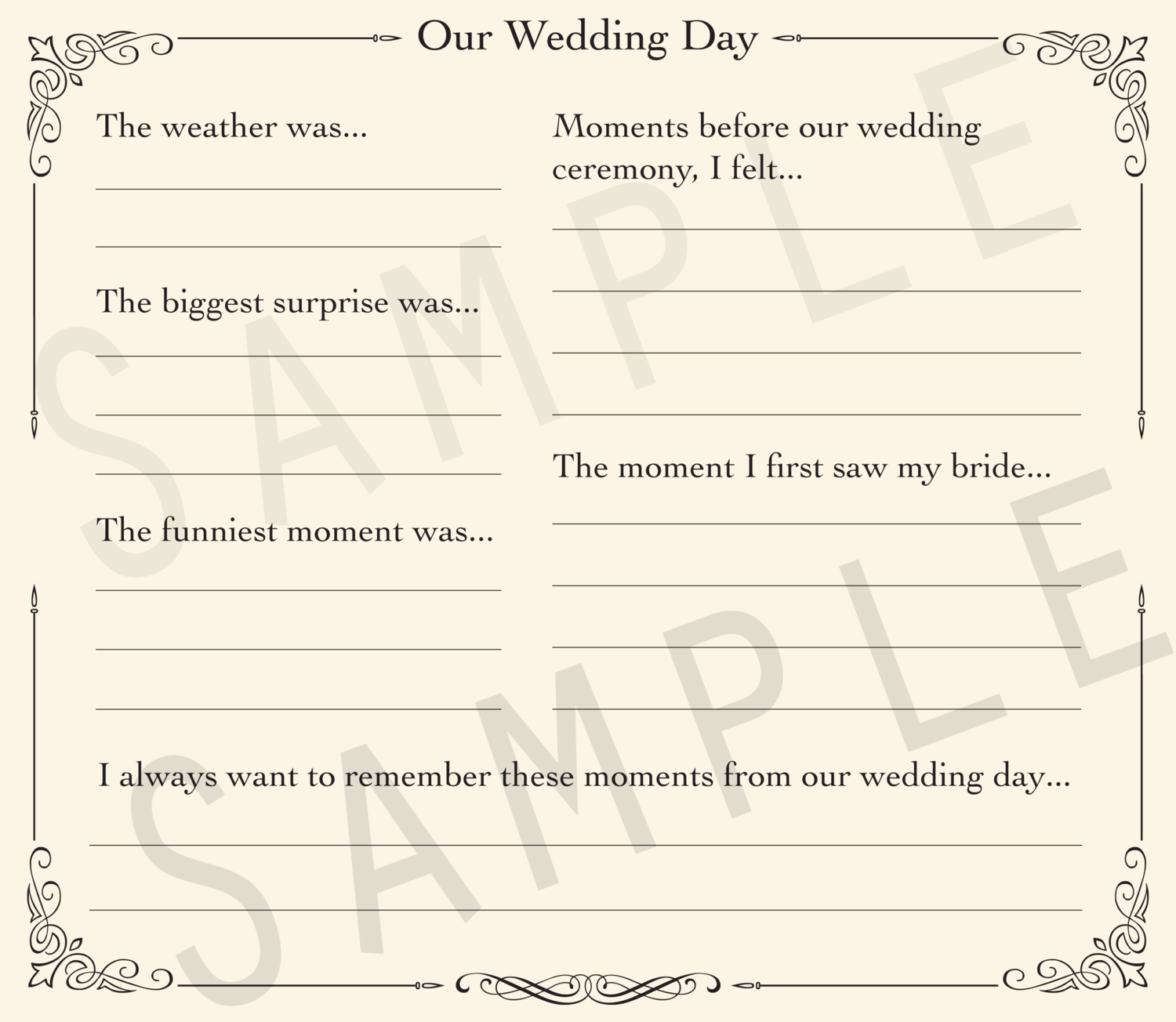 Add-on Collection: Wedding Day Reflections Pages