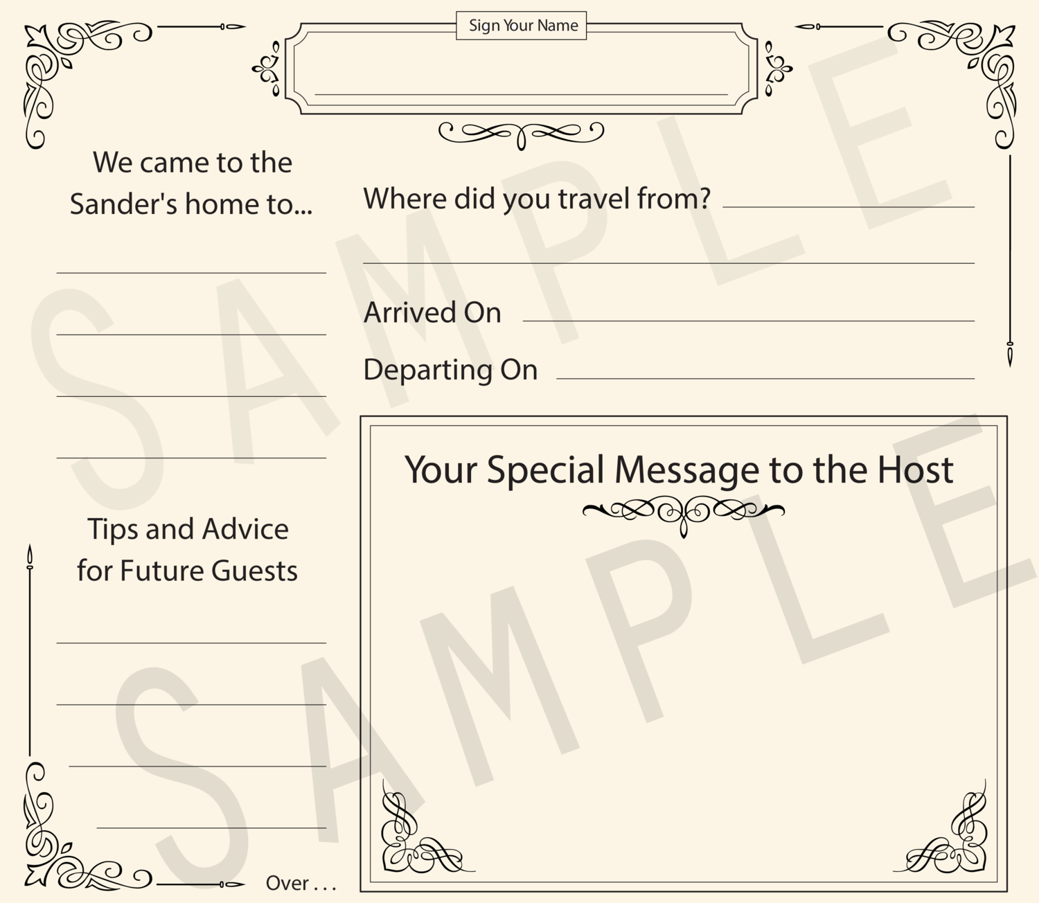 Formal Vacation Guestbook