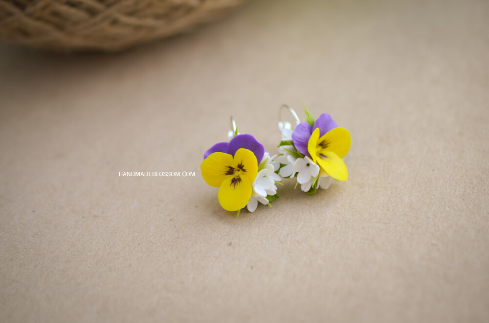 Yellow and violet pansy earrings