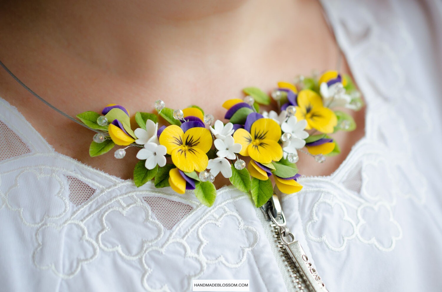 Yellow pansy necklace, Flower bridal jewelry