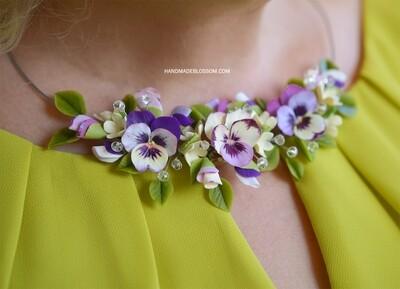 Purple pansy necklace, Flower jewelry
