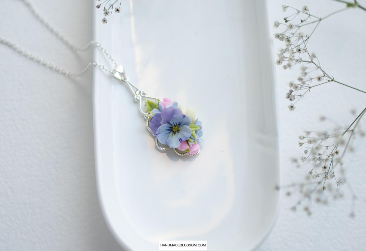 Tiny pansy charm, Purple flower necklace