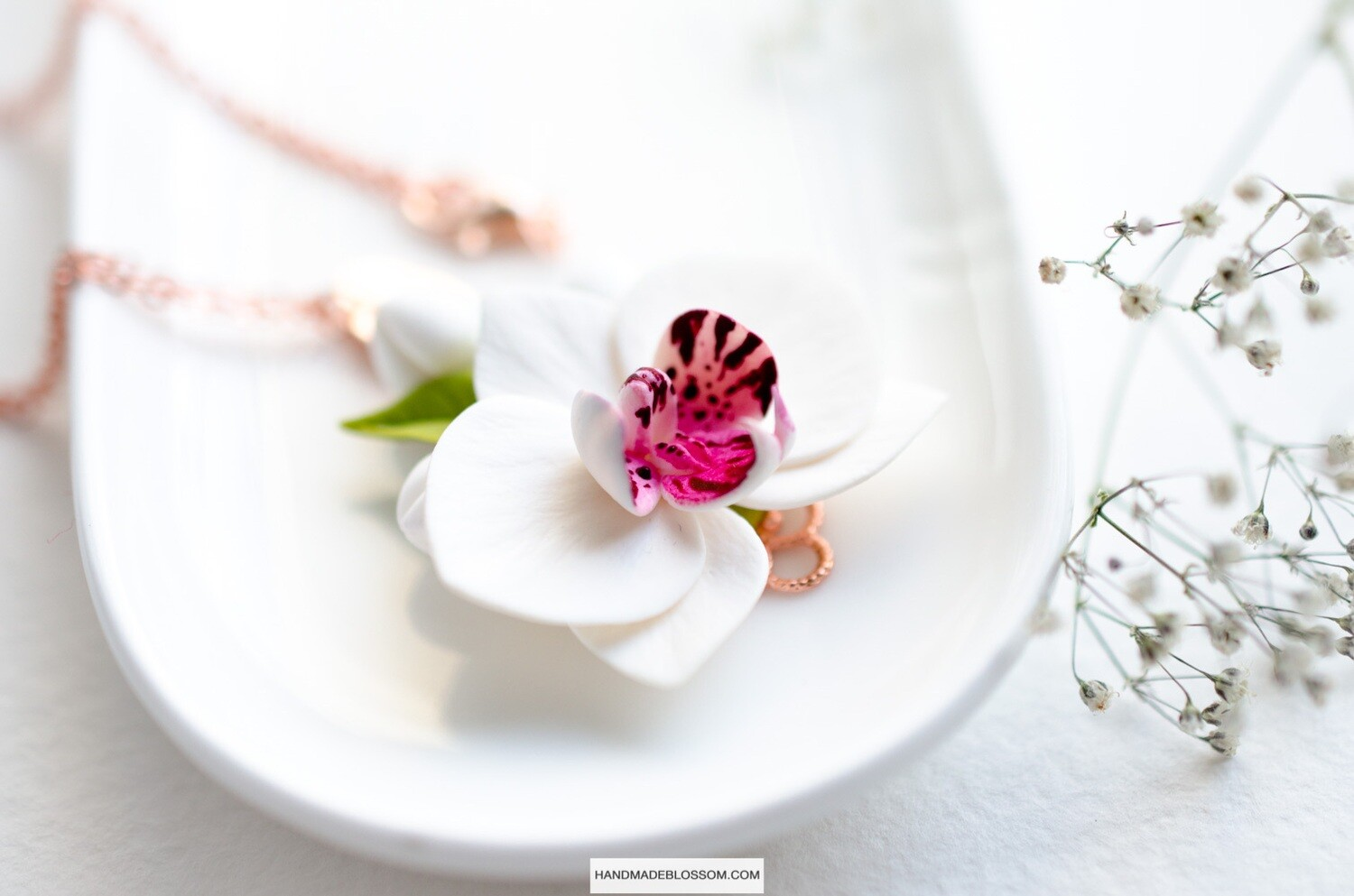 White orchid necklace, Phalaenopsis flower charm