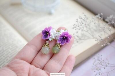 Purple viola earrings, White flower studs, Jade bead