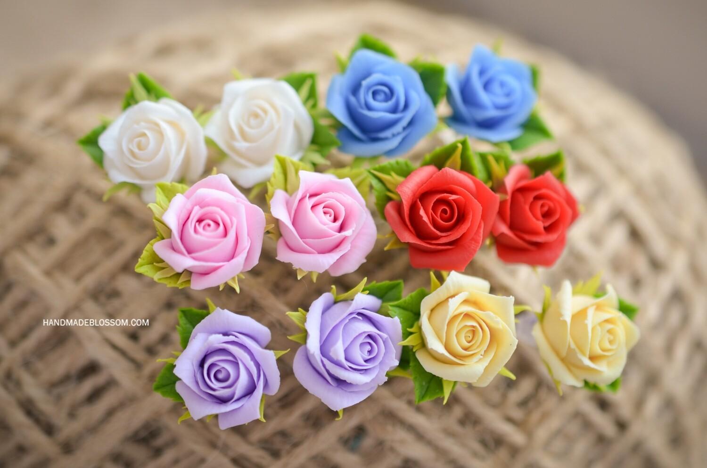 Rose stud earrings, Flower studs