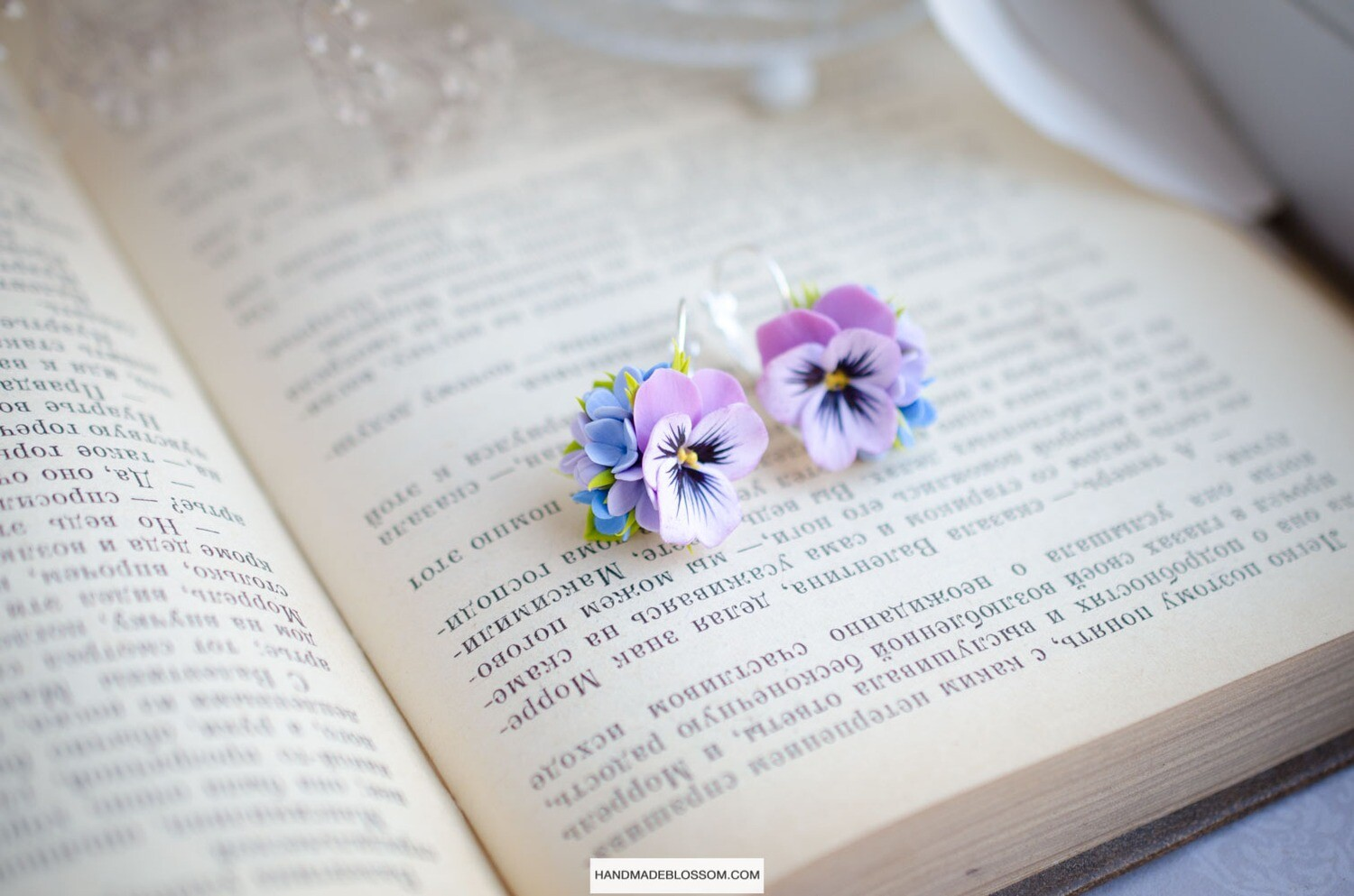 Purple pansy and blue lilac earrings