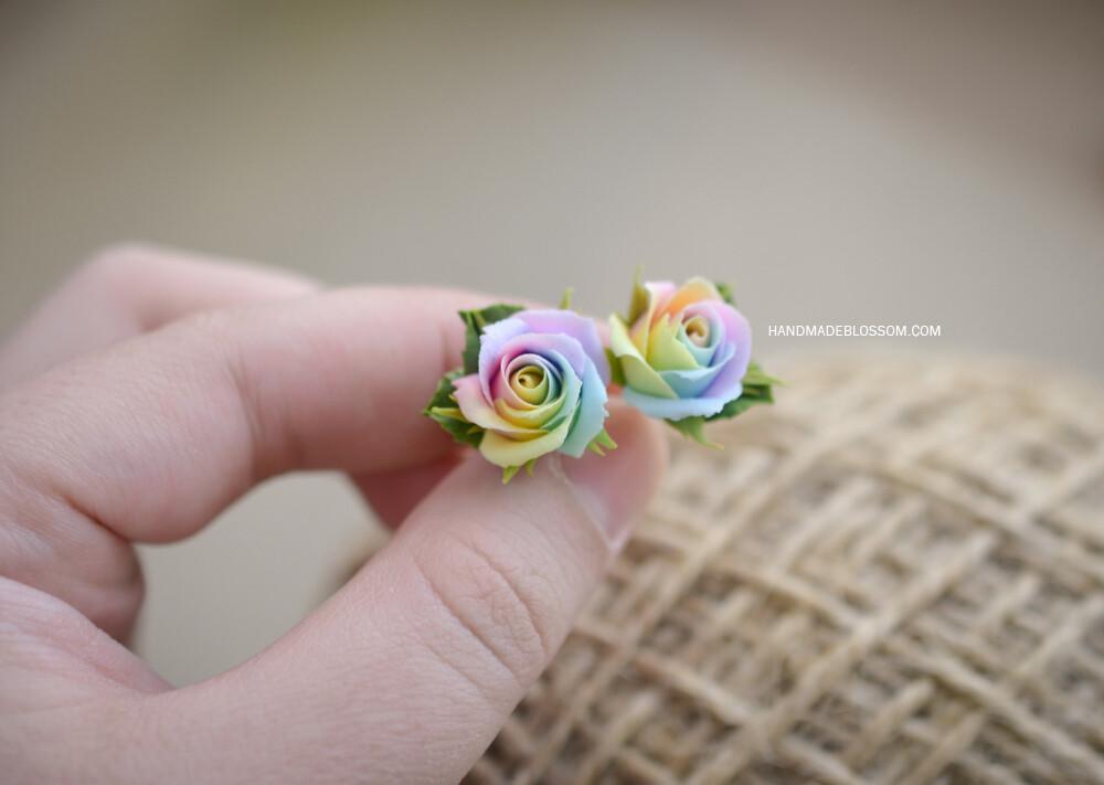 Pastel rainbow rose earrings, Flower studs