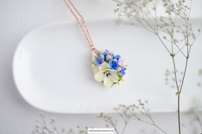 Delicate yellow pansy necklace, Blue flower charm
