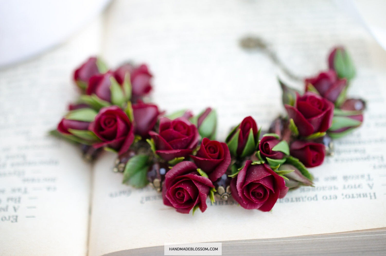 Dark red rose bracelet, Burgundy floral jewelry