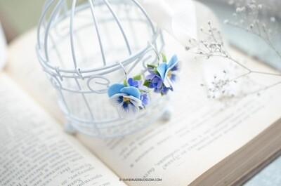 Blue pansy earrings, Purple lilac