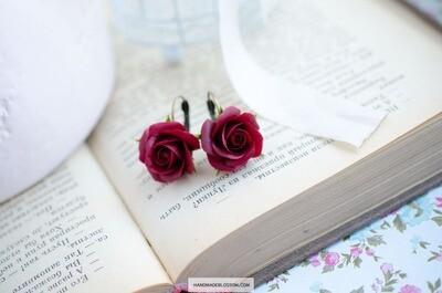 Dark red rose dangle earrings, Burgundy flower earrings