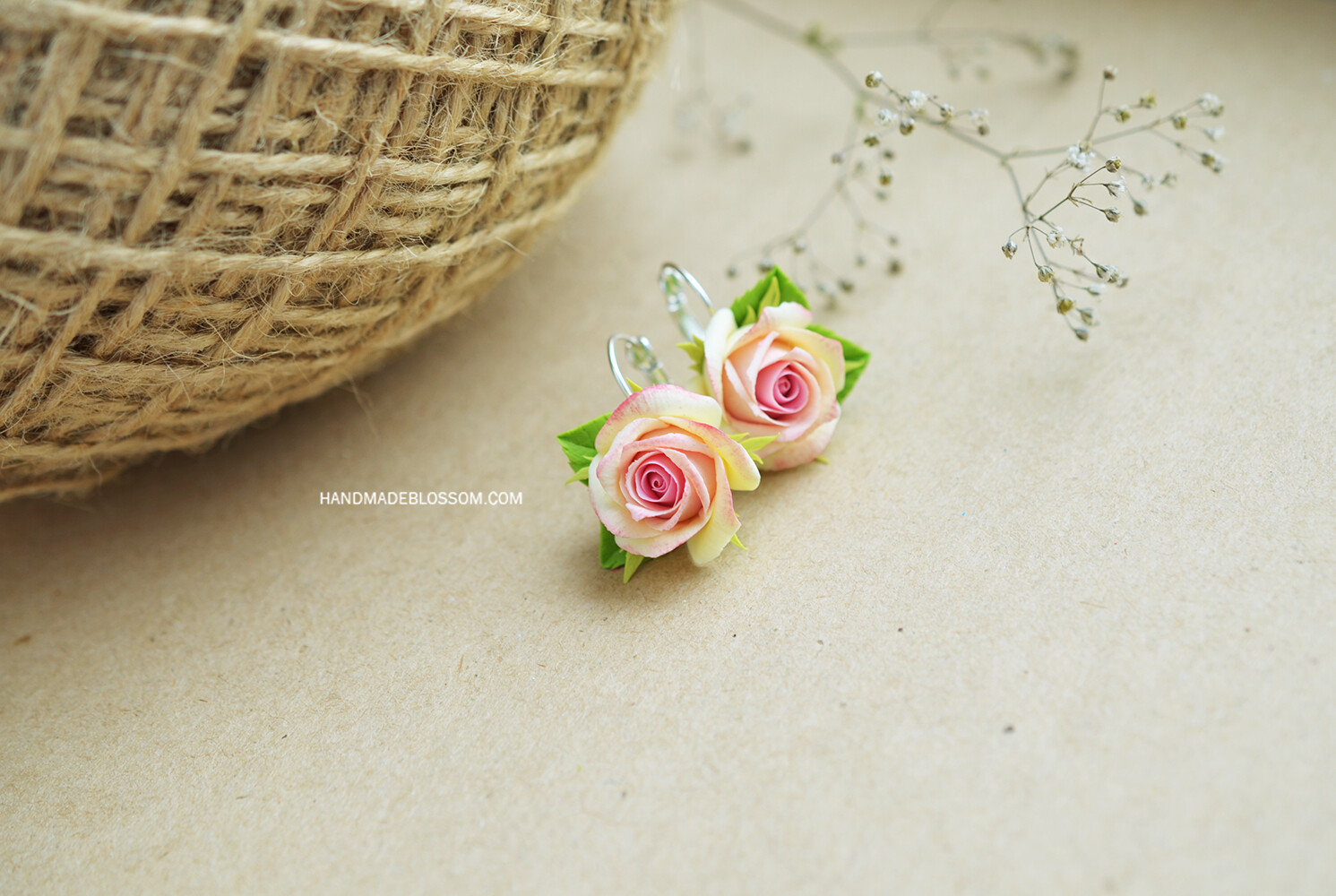 Peach rose earrings and ring, Roses set