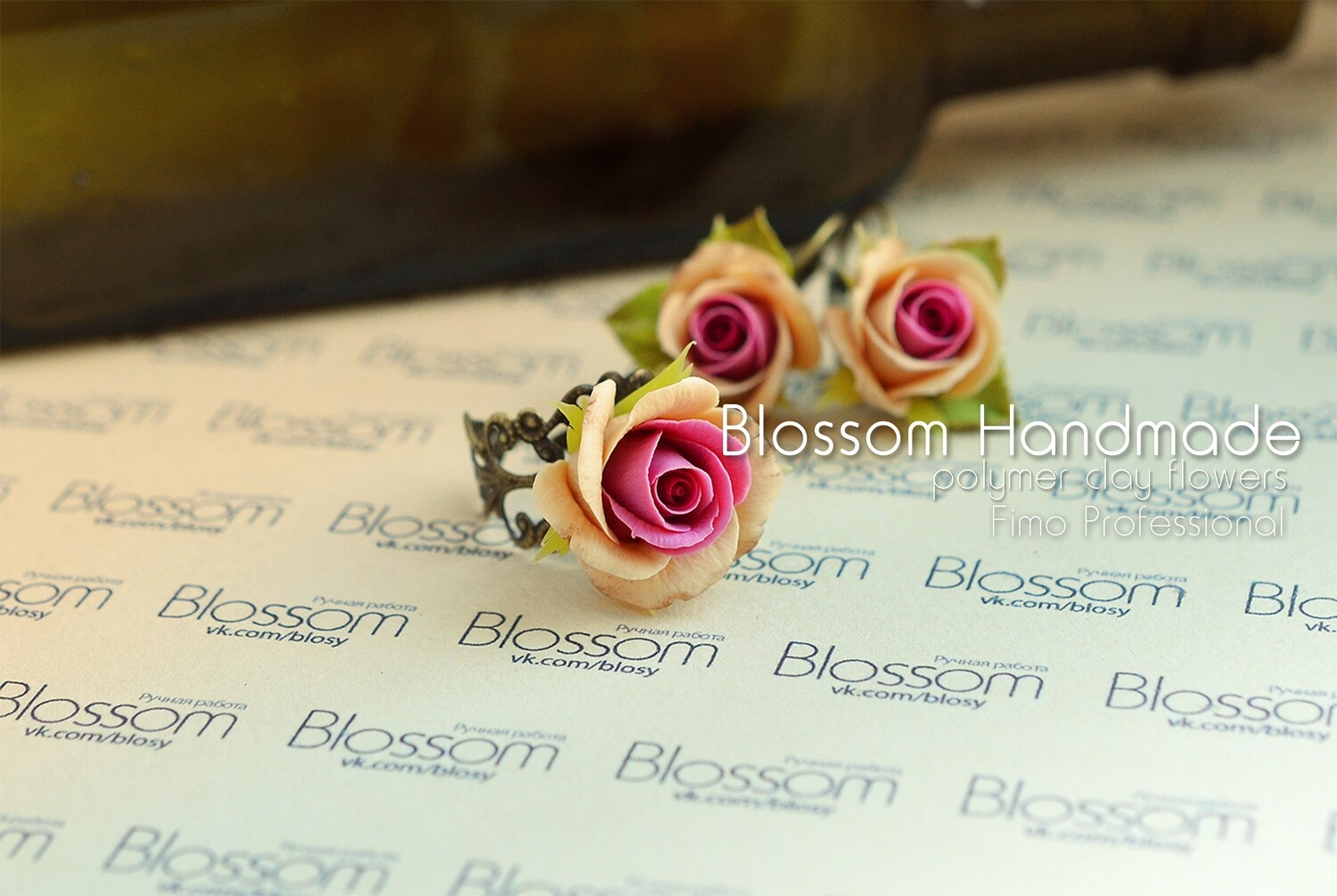 Dark red and beige rose earrings and ring, Flower roses set