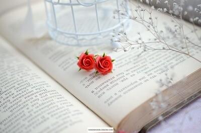 Coral red rose stud earrings