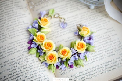 Yellow rose and lilac flower bracelet, Romantic floral gift