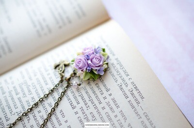 Miniature rose pendant, Purple flower jewelry