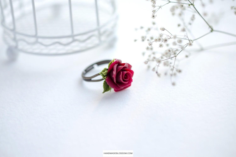 Burgundy rose ring (dark red), Wine flower ring