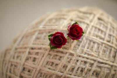Burgundy rose earrings (dark red), Wine flower earrings