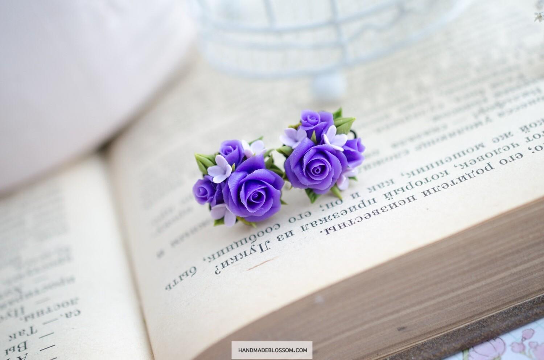 Tiny rose flowers earrings, Purple miniature earrings