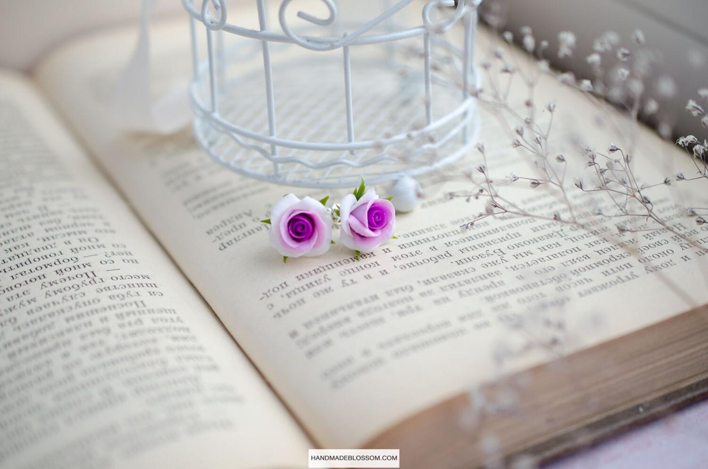 Purple roses stud earrings, Tiny flower studs